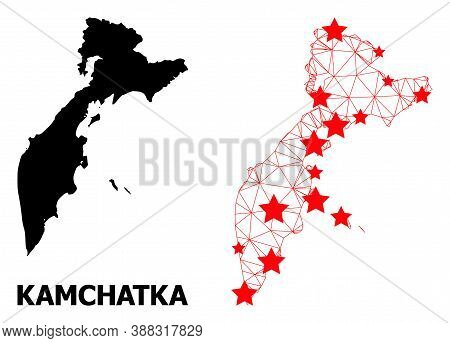 Carcass Polygonal And Solid Map Of Kamchatka Peninsula. Vector Structure Is Created From Map Of Kamc