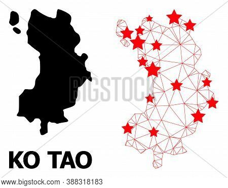 Wire Frame Polygonal And Solid Map Of Ko Tao. Vector Structure Is Created From Map Of Ko Tao With Re