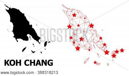 Mesh Polygonal And Solid Map Of Koh Chang. Vector Model Is Created From Map Of Koh Chang With Red St