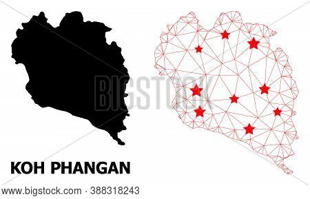 Wire Frame Polygonal And Solid Map Of Koh Phangan. Vector Structure Is Created From Map Of Koh Phang