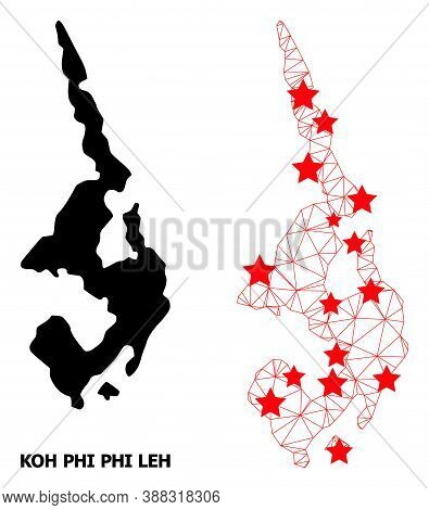 Mesh Polygonal And Solid Map Of Koh Phi Leh. Vector Model Is Created From Map Of Koh Phi Leh With Re