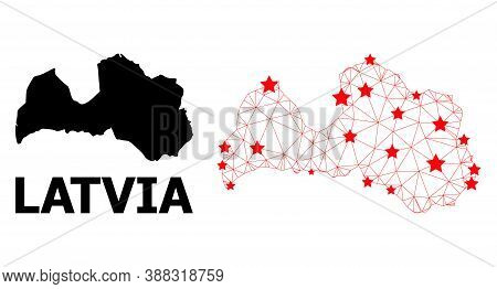 Network Polygonal And Solid Map Of Latvia. Vector Structure Is Created From Map Of Latvia With Red S