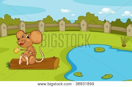 illustration of a mouse in a beautiful nature