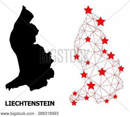 Wire Frame Polygonal And Solid Map Of Liechtenstein. Vector Model Is Created From Map Of Liechtenste