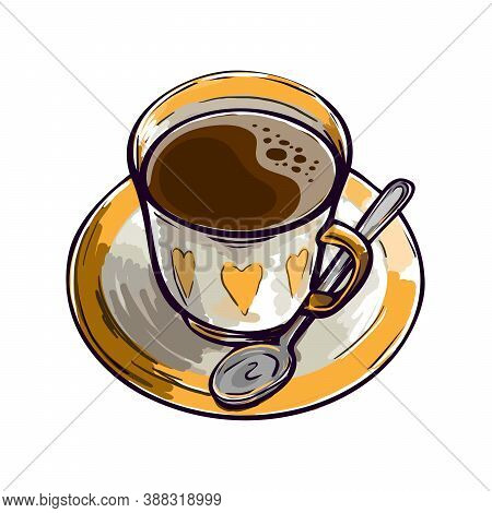 Fresh Aromatic Coffee. Invigorating Drink In A Beautiful Painted Cup With A Spoon