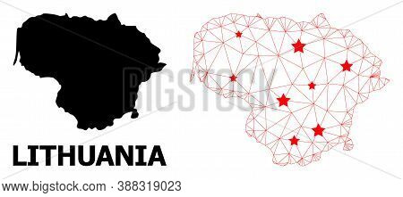 Network Polygonal And Solid Map Of Lithuania. Vector Structure Is Created From Map Of Lithuania With
