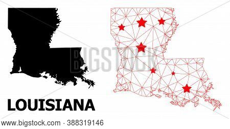 Wire Frame Polygonal And Solid Map Of Louisiana State. Vector Structure Is Created From Map Of Louis