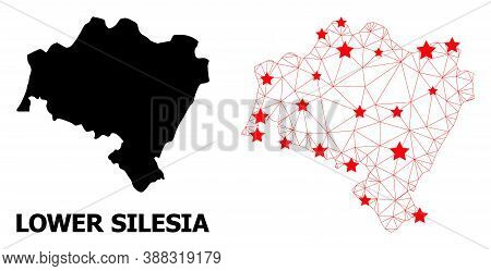 Network Polygonal And Solid Map Of Lower Silesia Province. Vector Model Is Created From Map Of Lower