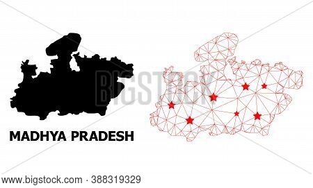 Network Polygonal And Solid Map Of Madhya Pradesh State. Vector Model Is Created From Map Of Madhya