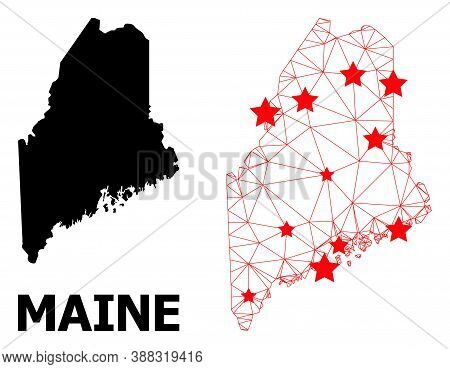 Carcass Polygonal And Solid Map Of Maine State. Vector Structure Is Created From Map Of Maine State