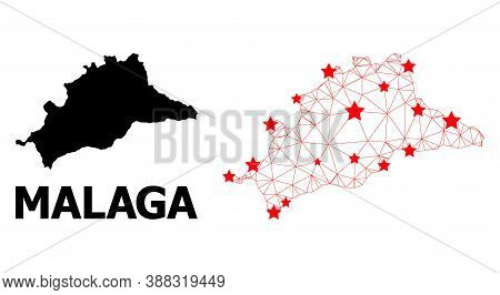 Network Polygonal And Solid Map Of Malaga Province. Vector Model Is Created From Map Of Malaga Provi