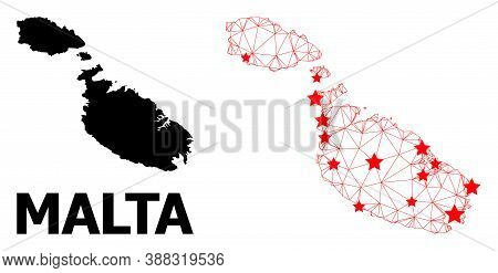 Network Polygonal And Solid Map Of Malta. Vector Model Is Created From Map Of Malta With Red Stars.