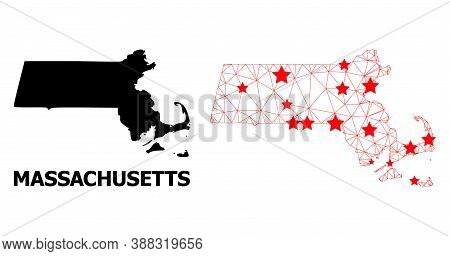 Network Polygonal And Solid Map Of Massachusetts State. Vector Model Is Created From Map Of Massachu