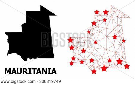 Wire Frame Polygonal And Solid Map Of Mauritania. Vector Model Is Created From Map Of Mauritania Wit