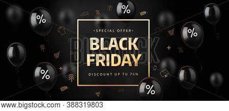 Black Friday Banner With Shopping Icons On Shiny Black Balloons. Vector Illustration