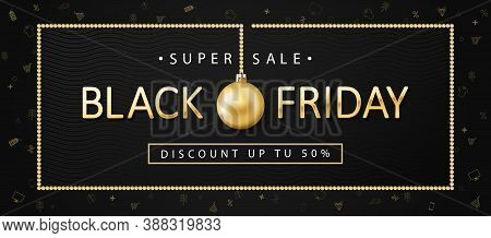 Black Friday Sale, Banner, Poster. Golden Color Inscription On Dark Background With Shopping Icons