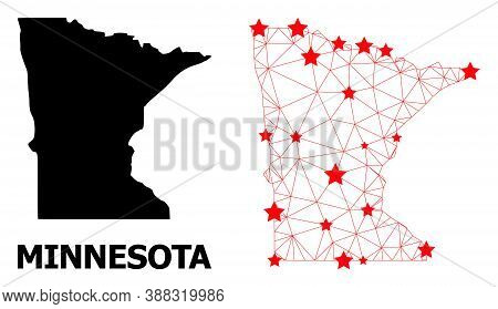 Wire Frame Polygonal And Solid Map Of Minnesota State. Vector Model Is Created From Map Of Minnesota