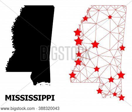 Wire Frame Polygonal And Solid Map Of Mississippi State. Vector Model Is Created From Map Of Mississ