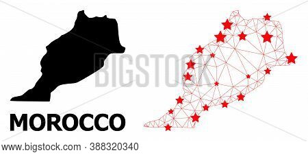 Network Polygonal And Solid Map Of Morocco. Vector Structure Is Created From Map Of Morocco With Red