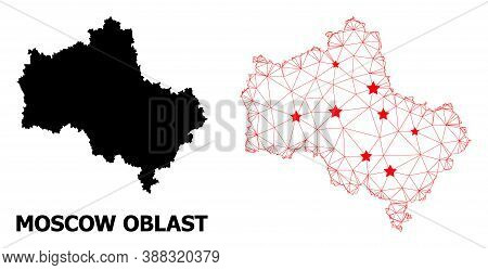 Wire Frame Polygonal And Solid Map Of Moscow Region. Vector Structure Is Created From Map Of Moscow