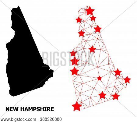 2d Polygonal And Solid Map Of New Hampshire State. Vector Structure Is Created From Map Of New Hamps