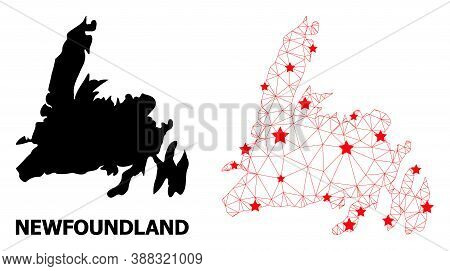 Wire Frame Polygonal And Solid Map Of Newfoundland Island. Vector Structure Is Created From Map Of N