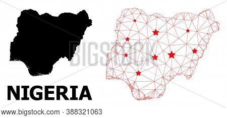 Mesh Polygonal And Solid Map Of Nigeria. Vector Model Is Created From Map Of Nigeria With Red Stars.