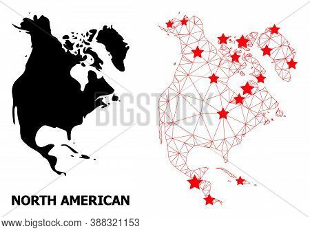 Wire Frame Polygonal And Solid Map Of North America. Vector Model Is Created From Map Of North Ameri