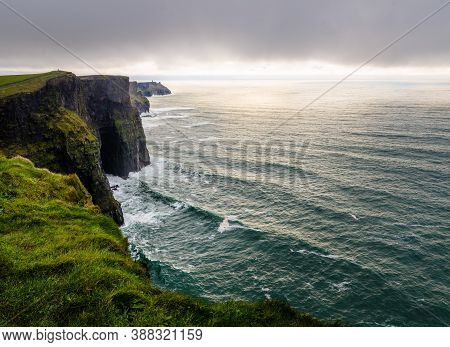 Panoramic View Of The Cliff Of Moher In A Cloudy Wintery Day, Ireland