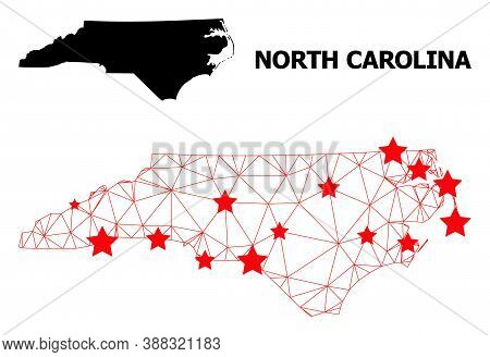 Network Polygonal And Solid Map Of North Carolina State. Vector Structure Is Created From Map Of Nor