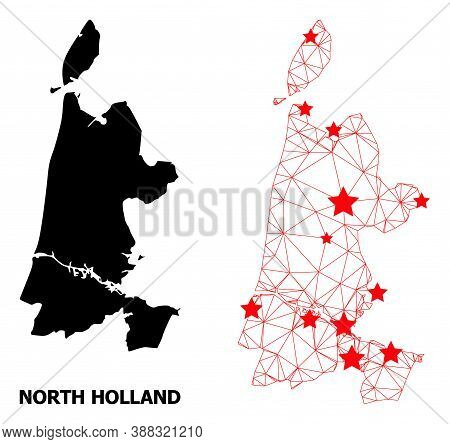 Network Polygonal And Solid Map Of North Holland. Vector Structure Is Created From Map Of North Holl