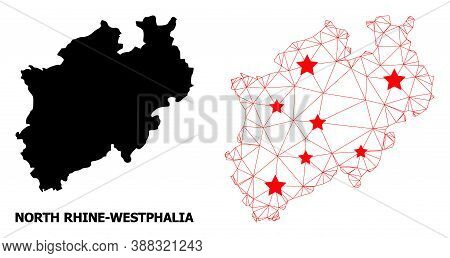 Mesh Polygonal And Solid Map Of North Rhine-westphalia State. Vector Structure Is Created From Map O