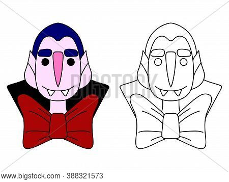 Funny Vampire Coloring Page Stock Vector Illustration. Cartoon Vampire With Smile Colorful And Black