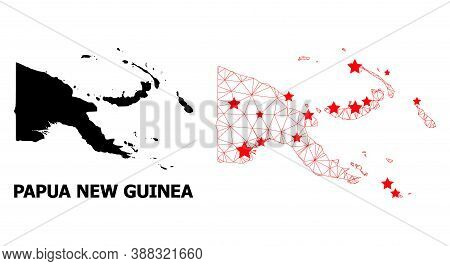 Wire Frame Polygonal And Solid Map Of Papua New Guinea. Vector Model Is Created From Map Of Papua Ne