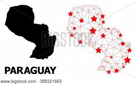 Network Polygonal And Solid Map Of Paraguay. Vector Model Is Created From Map Of Paraguay With Red S
