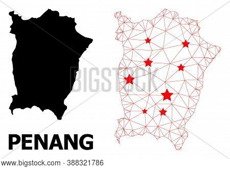 Carcass Polygonal And Solid Map Of Penang Island. Vector Structure Is Created From Map Of Penang Isl