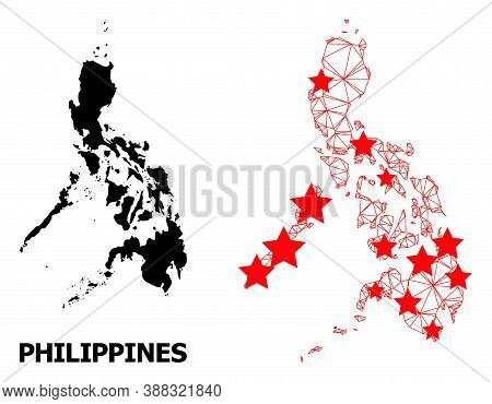 Network Polygonal And Solid Map Of Philippines. Vector Model Is Created From Map Of Philippines With