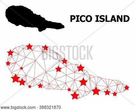 Mesh Polygonal And Solid Map Of Pico Island. Vector Structure Is Created From Map Of Pico Island Wit