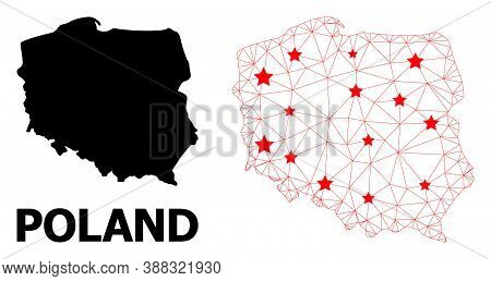 Mesh Polygonal And Solid Map Of Poland. Vector Structure Is Created From Map Of Poland With Red Star
