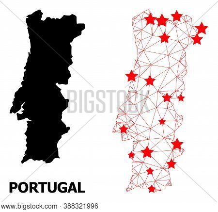 Mesh Polygonal And Solid Map Of Portugal. Vector Structure Is Created From Map Of Portugal With Red