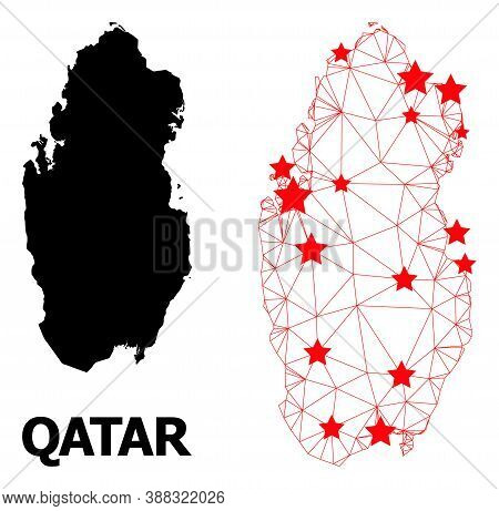 Mesh Polygonal And Solid Map Of Qatar. Vector Model Is Created From Map Of Qatar With Red Stars. Abs