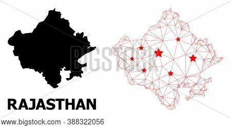 Wire Frame Polygonal And Solid Map Of Rajasthan State. Vector Structure Is Created From Map Of Rajas