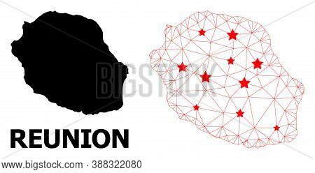 Carcass Polygonal And Solid Map Of Reunion Island. Vector Structure Is Created From Map Of Reunion I
