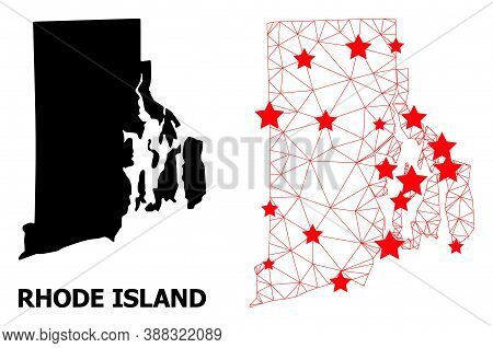 Wire Frame Polygonal And Solid Map Of Rhode Island State. Vector Model Is Created From Map Of Rhode