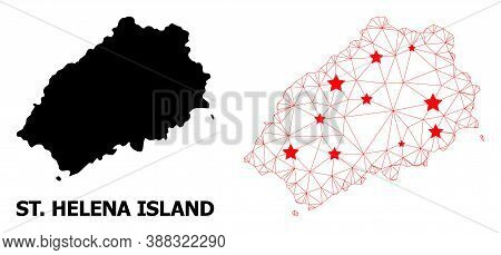 Wire Frame Polygonal And Solid Map Of Saint Helena Island. Vector Model Is Created From Map Of Saint