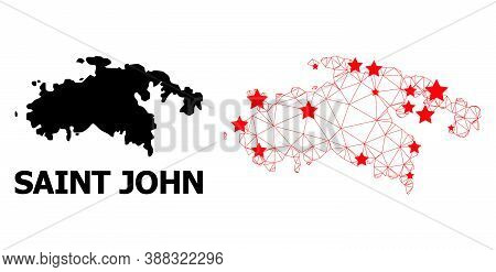 Mesh Polygonal And Solid Map Of Saint John Island. Vector Model Is Created From Map Of Saint John Is