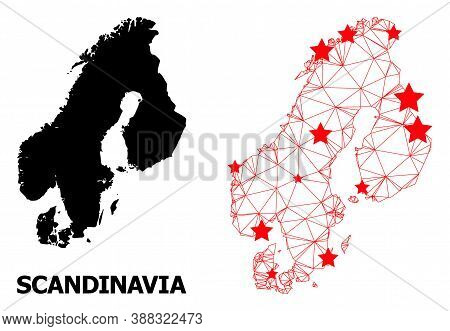 Network Polygonal And Solid Map Of Scandinavia. Vector Structure Is Created From Map Of Scandinavia