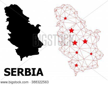 2d Polygonal And Solid Map Of Serbia. Vector Structure Is Created From Map Of Serbia With Red Stars.