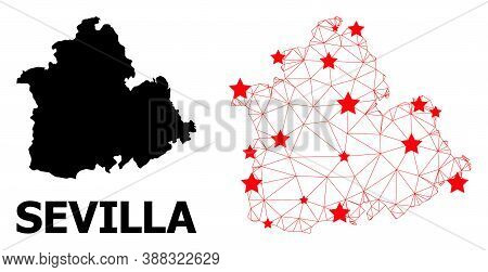 Carcass Polygonal And Solid Map Of Sevilla Province. Vector Model Is Created From Map Of Sevilla Pro