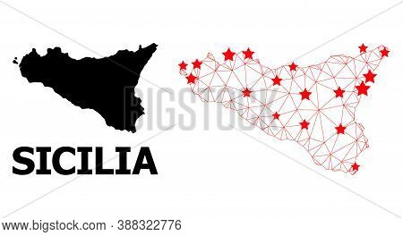 Network Polygonal And Solid Map Of Sicilia Island. Vector Model Is Created From Map Of Sicilia Islan